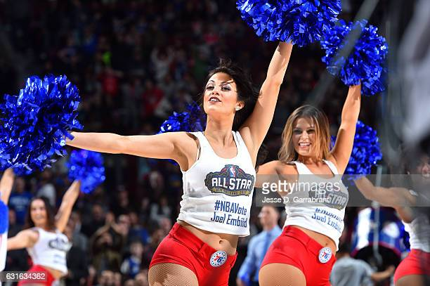 The Philadelphia 76ers dancers perform their routine during the game against the Charlotte Hornets on January 13 2017 at Wells Fargo Center in...