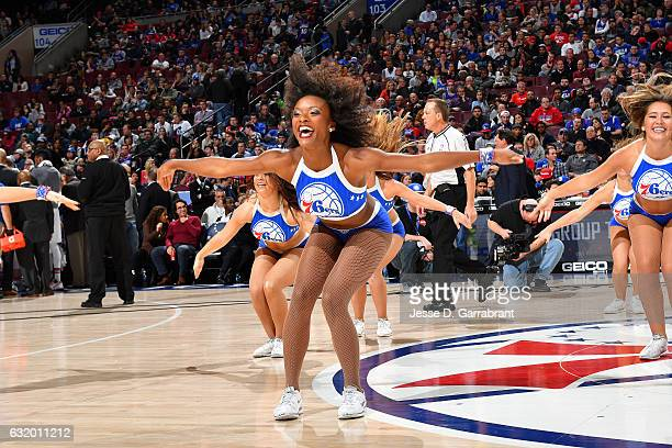 The Philadelphia 76ers dancers perform their routine during the game against the Toronto Raptors on January 18 2017 at Wells Fargo Center in...