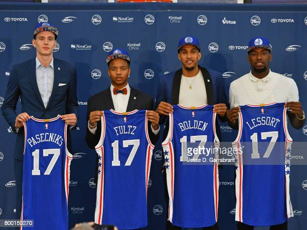 The Philadelphia 76ers host a post draft press conference announcing new players Anzejs Pasecniks Markelle Fultz Jonah Bolden and Mathias Lessort at...