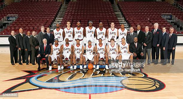 The Philadelphia 76ers pose for a team portrait prior to the game against the Detroit Pistons on March 23 2005 at the Wachovia Center in Philadelphia...
