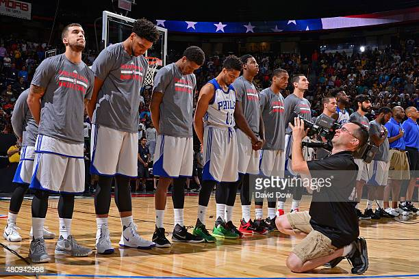 The Philadelphia 76ers stand for the national anthem before a game against the Los Angeles Lakers on July 11 2015 at Cox Pavilion in Las Vegas Nevada...