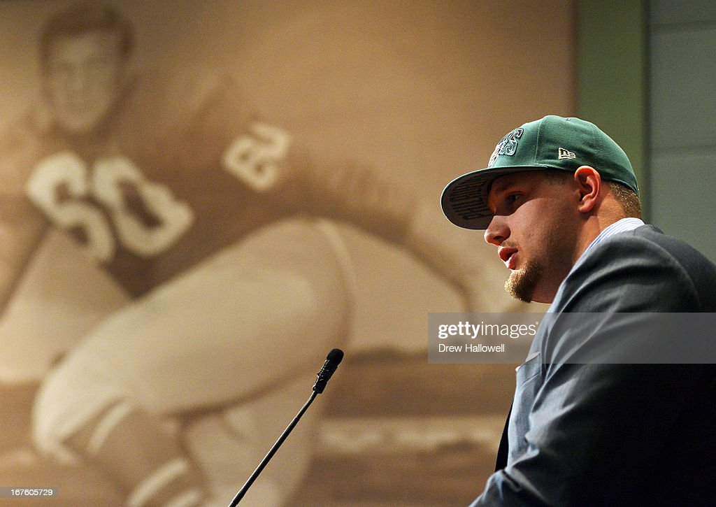 The Philadelphia Eagles introduce Lane Johnson to the fans and media at the NovaCare Complex on April 26, 2013 in Philadelphia, Pennsylvania.
