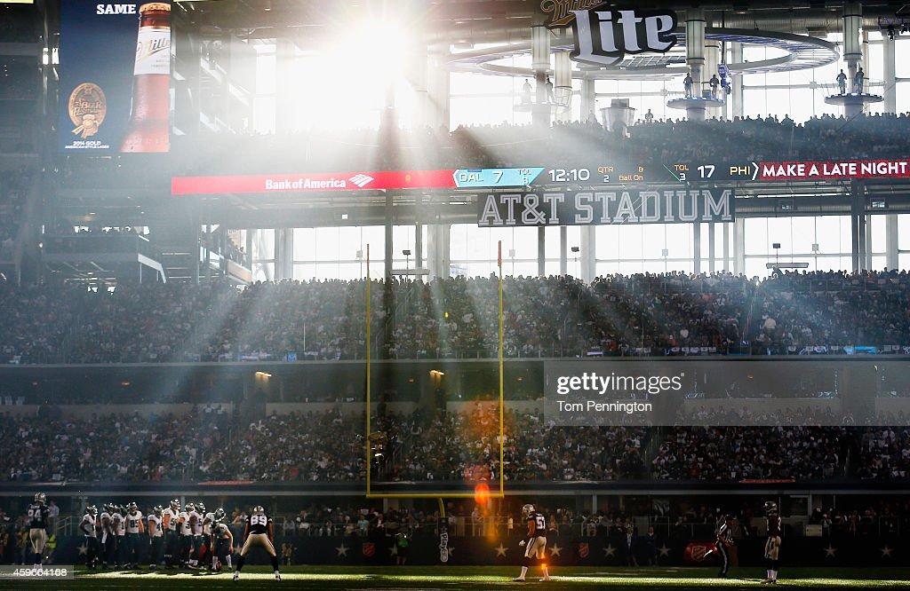 The Philadelphia Eagles take on the Dallas Cowboys in the second quarter at ATT Stadium on November 27 2014 in Arlington Texas