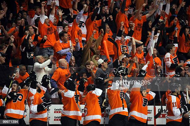 The Philadelphia Flyers bench and fans celebrate after the second period goal by Simon Gagne against the Montreal Canadiens in Game 2 of the Eastern...