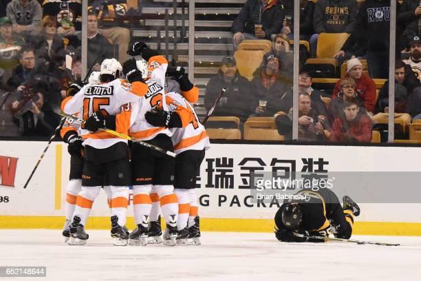 The Philadelphia Flyers celebrate a goal against the Boston Bruins at the TD Garden on March 11 2017 in Boston Massachusetts