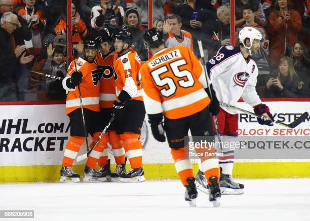 The Philadelphia Flyers celebrate a goal by PierreEdouard Bellemare at 1252 of the first period against the Columbus Blue Jackets at the Wells Fargo...