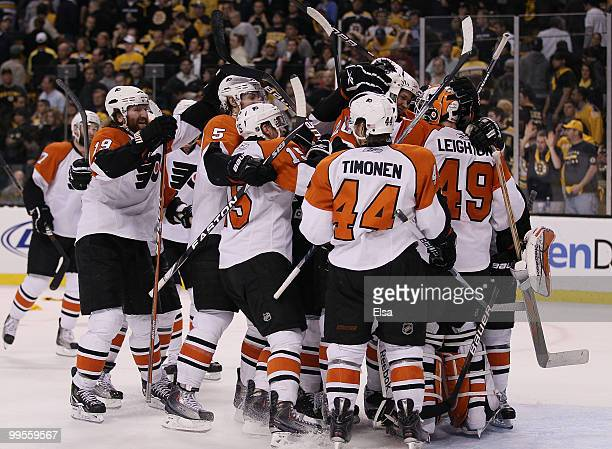 The Philadelphia Flyers celebrate the win over the Boston Bruins in Game Seven of the Eastern Conference Semifinals during the 2010 NHL Stanley Cup...