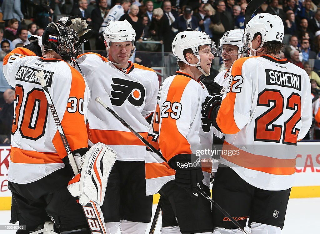 The Philadelphia Flyers celebrate win against the Toronto Maple Leafsduring NHL action at the Air Canada Centre April 4, 2013 in Toronto, Ontario, Canada.