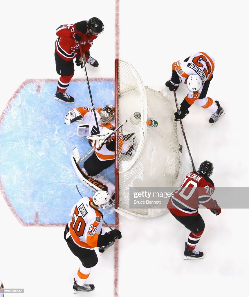 The Philadelphia Flyers defend against the New Jersey Devils during the third period at the Prudential Center on April 4, 2017 in Newark, New Jersey. The Devils defeated the Flyers 1-0 in overtime.