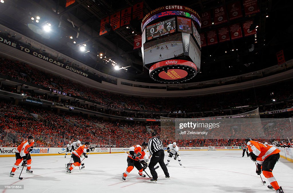The Philadelphia Flyers host the Pittsburgh Penguins in the season opener at Wells Fargo Center on January 19, 2013 in Philadelphia, Pennsylvania.