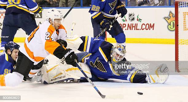 The Philadelphia Flyers' Matt Read scores past St Louis Blues goaltender Brian Elliott in the second period on Thursday Dec 10 at the Scottrade...