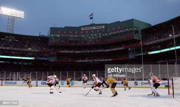 The Philadelphia Flyers skate against the Boston Bruins during the 2010 Bridgestone Winter Classic at Fenway Park on January 1 2010 in Boston...