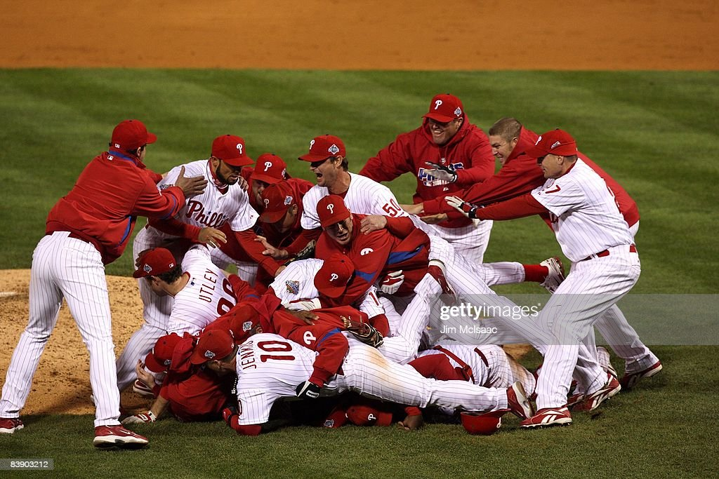 The Philadelphia Phillies celebrate their 43 win against the Tampa Bay Rays during the continuation of game five of the 2008 MLB World Series on...