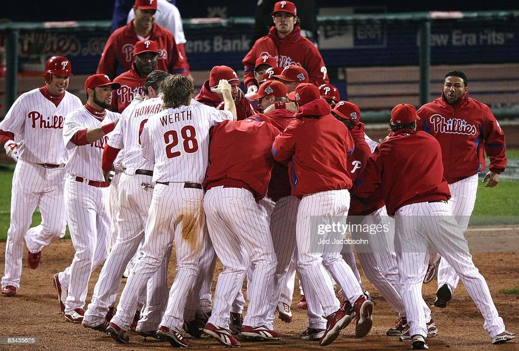 The Philadelphia Phillies celebrate their 5-4 victory over the Tampa Bay Rays in game three of the 2008 MLB World Series on October 25, 2008 at Citizens Bank Park in Philadelphia, Pennsylvania.