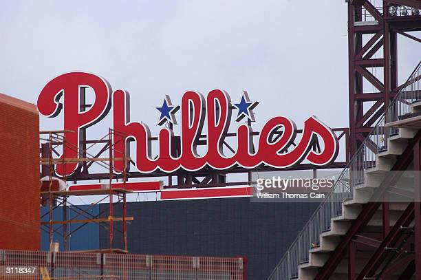 The Philadelphia Phillies logo sits atop the new scoreboard at Citizen's Bank Park the new home of the Philadelphia Phillies March 21 2004 in...
