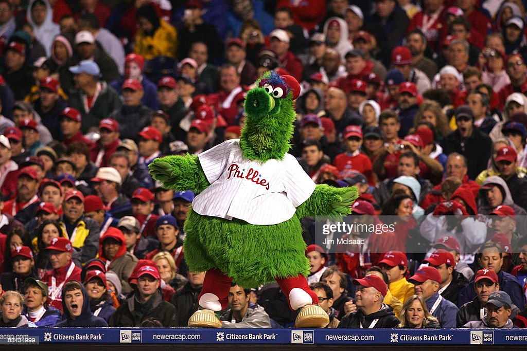 The Philadelphia Phillies mascot Philly Fanatic dances on the dugout while taking on the Tampa Bay Rays during game three of the 2008 MLB World Series on October 25, 2008 at Citizens Bank Park in Philadelphia, Pennsylvania.
