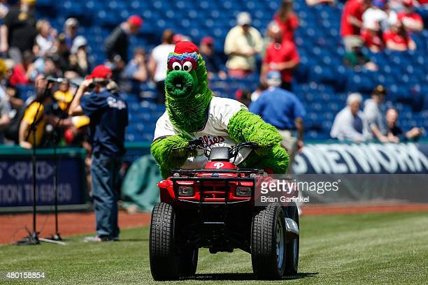 The Philadelphia Phillies mascot the Phillie Phanatic rides a four wheel ATV before the game against the Pittsburgh Pirates at Citizens Bank Park on...