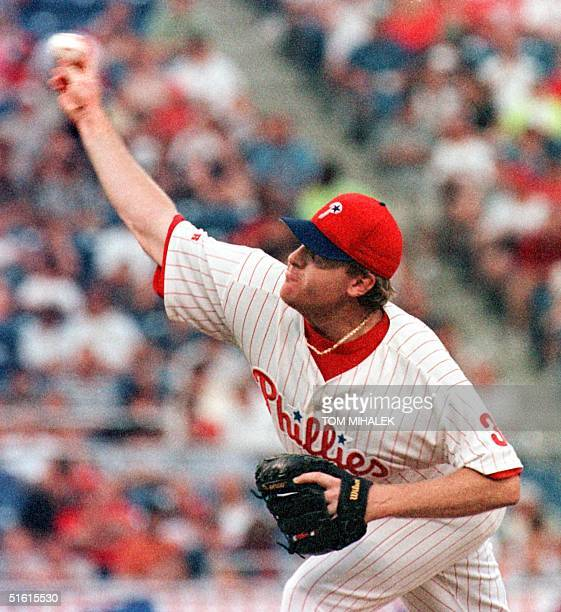 The Philadelphia Phillies starting pitcher Curt Schilling unloads a fast ball in the third inning of interleague play against the Baltimore Orioles...