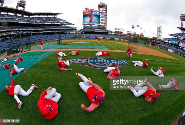 The Philadelphia Phillies stretch before their Opening Day game against the Washington Nationals at Citizens Bank Park on April 7 2017 in...