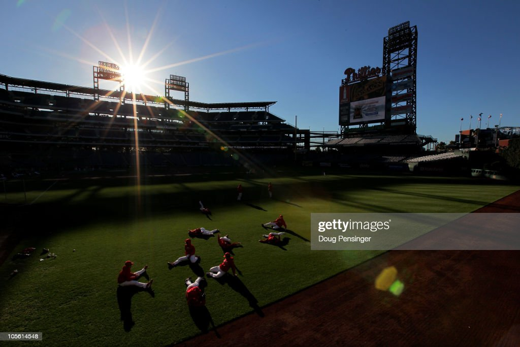The Philadelphia Phillies stretch in the outfield during batting practice before taking on the San Francisco Giants in Game One of the NLCS during the 2010 MLB Playoffs at Citizens Bank Park on October 16, 2010 in Philadelphia, Pennsylvania.