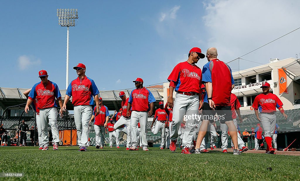 The Philadelphia Phillies stretch just before the start of the Grapefruit League Spring Training Game against the Baltimore Orioles at Ed Smith Stadium on March 23, 2013 in Sarasota, Florida.