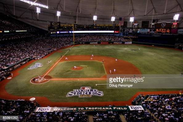 The Philadelphia Phillies take on the Tampa Bay Rays during game one of the 2008 MLB World Series on October 22 2008 at Tropicana Field in St...