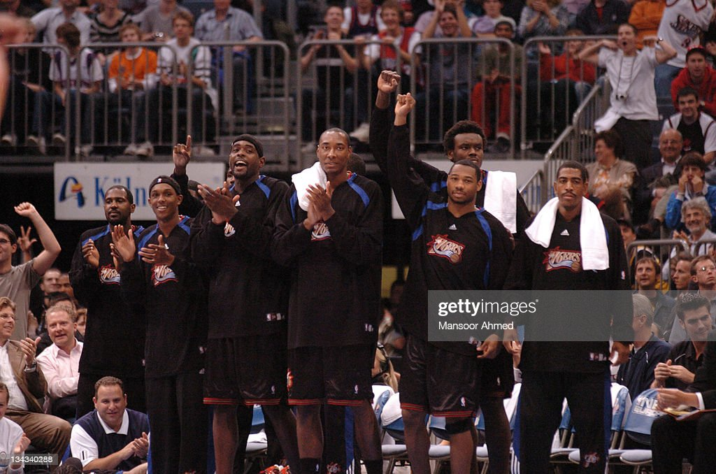 The Philadelphina 76ers bench celebrate beating the Phoenix Suns during the NBA Europe Live Tour presented by EA Sports at the Koeln Arena in Cologne...