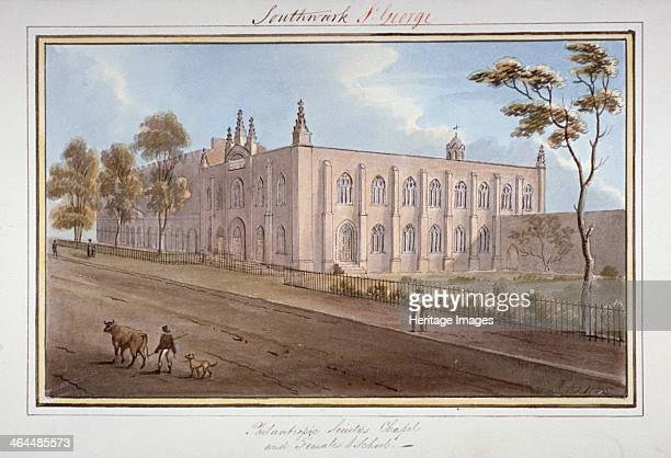 The Philanthropic Society Institution Southwark London 1825 View showing the chapel and female school on London Road A figure can be seen in the...