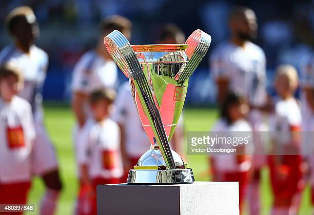 The Philip F Anschutz trophy is displayed on the field prior to the 2014 MLS Cup match between the New England Revolution and the Los Angeles Galaxy...