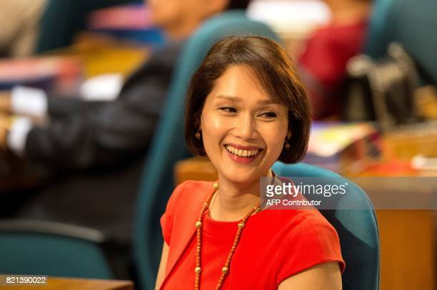 The Philippines' first transgender representative Geraldine Roman attends the 17th Congress second regular session at the House of Representatives in...