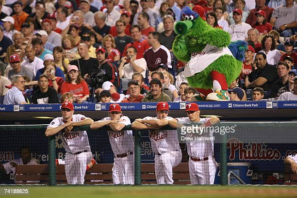 The Phillie Phanatic and Philadelphia Phillies players watch the game against the Milwaukee Brewers on May 15 2007 at Citizens Bank Park in...