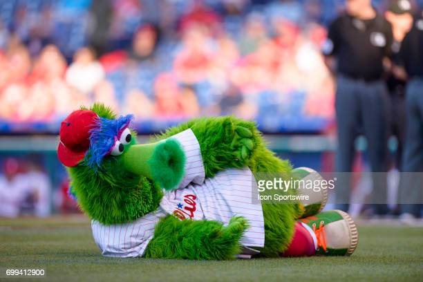 The Phillie Phanatic bates the Cardinals dugout before the Major League Baseball game between the St Louis Cardinals and the Philadelphia Phillies on...