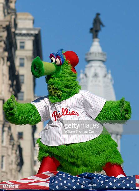 The Phillie Phanatic dances on a float in front of City Hall during the World Championship Parade October 31 2008 in Philadelphia Pennsylvania The...