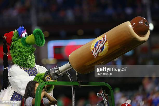 The Phillie Phanatic dressed in Greek ethnic clothing fires hot dogs into the stands during a game between the Milwaukee Brewers and the Philadelphia...