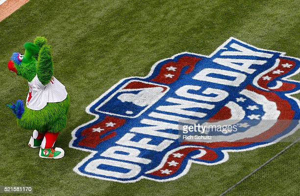 The Phillie Phanatic in action during opening day ceremonies before the start of an MLB game against the San Diego Padres and Philadelphia Phillies...