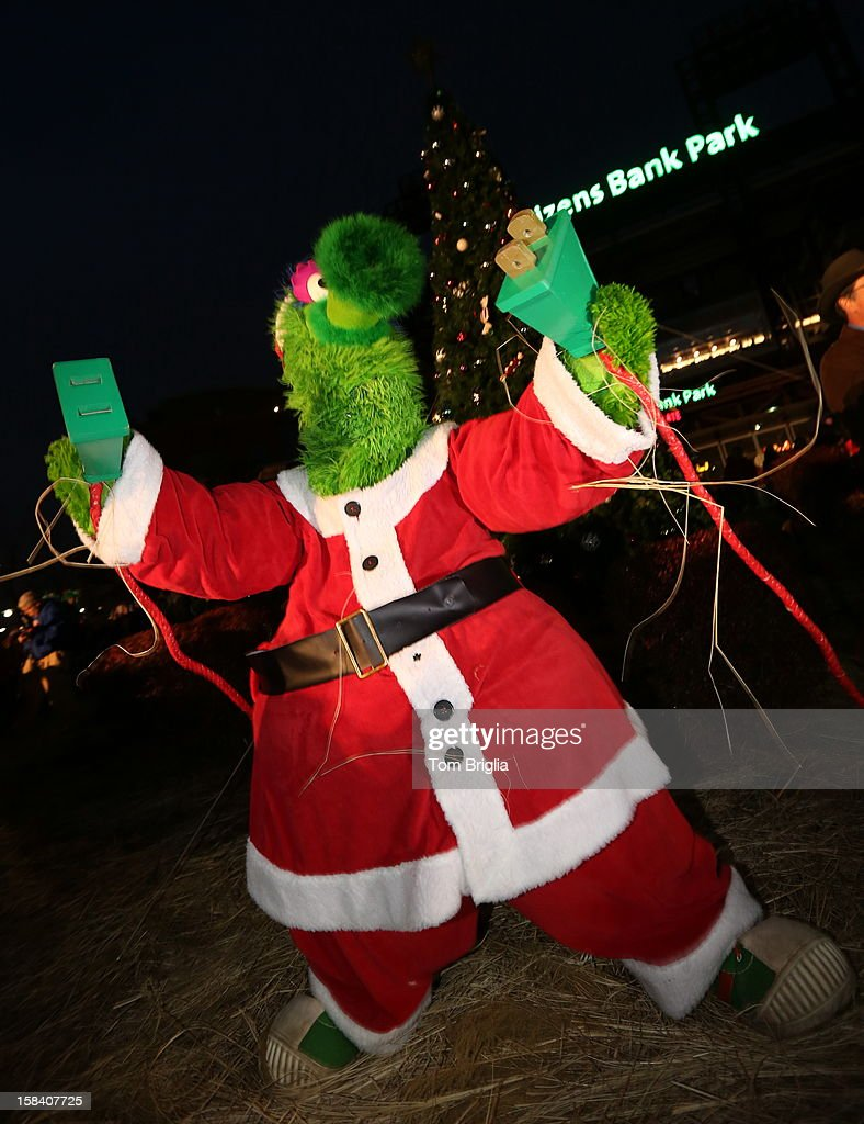 The Phillie Phanatic lights the Christmas tree during the Philadelphia Phillies Christmas tree lighting ceremony at Citizens Bank Park on Saturday December 15, 2012 in Philadelphia, Pennsylvania.