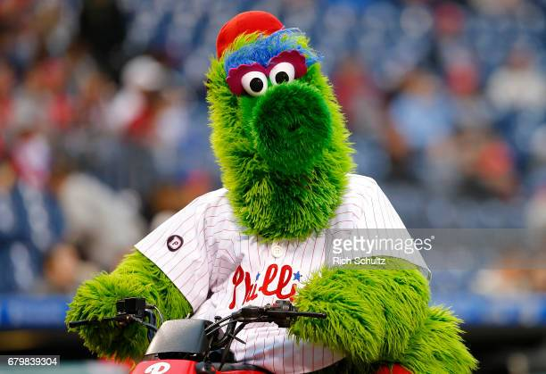 The Phillie Phanatic performs before a game against the Washington Nationals at Citizens Bank Park on May 5 2017 in Philadelphia Pennsylvania