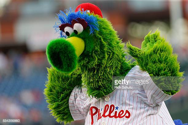 The Phillie Phanatic performs before a game between the Atlanta Braves the Philadelphia Phillies at Citizens Bank Park on May 20 2016 in Philadelphia...