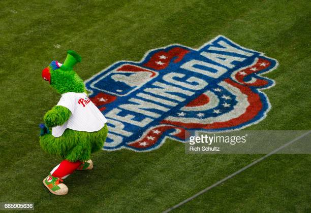 The Phillie Phanatic performs before an opening day game between the Philadelphia Phillies the Washington Nationals at Citizens Bank Park on April 7...