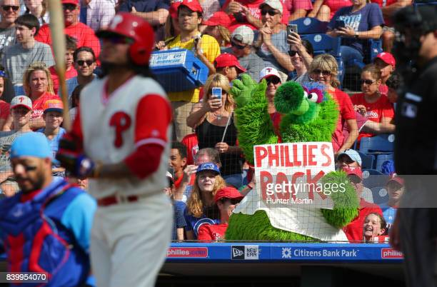 The Phillie Phanatic performs in the seventh inning during a game between the Chicago Cubs and the Philadelphia Phillies at Citizens Bank Park on...