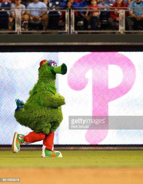 The Phillie Phanatic streaks in the outfield during a game between the Los Angeles Dodgers and Philadelphia Phillies at Citizens Bank Park on...