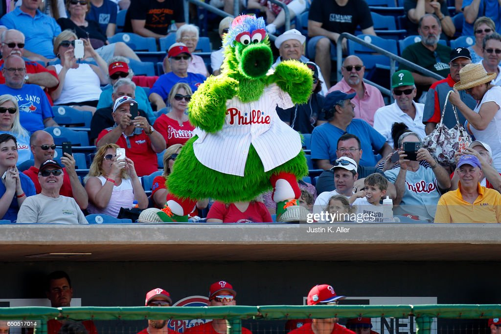 The Phillie Phanatic taunts the Toronto Blue Jays on March 9, 2017 at Spectrum Field in Clearwater, Florida.