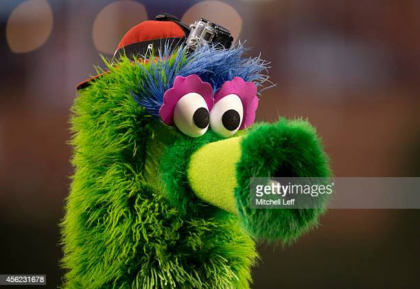 The Phillie Phanatic wears a GoPro on his head prior to the game between the Philadelphia Phillies and the Atlanta Braves on September 27 2014 at...