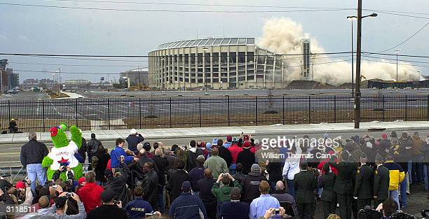 The Phillies Phanatic waves goodbye to Veteran's Stadium the former home of the Philadelphia Phillies as it was imploded to make way for a parking...
