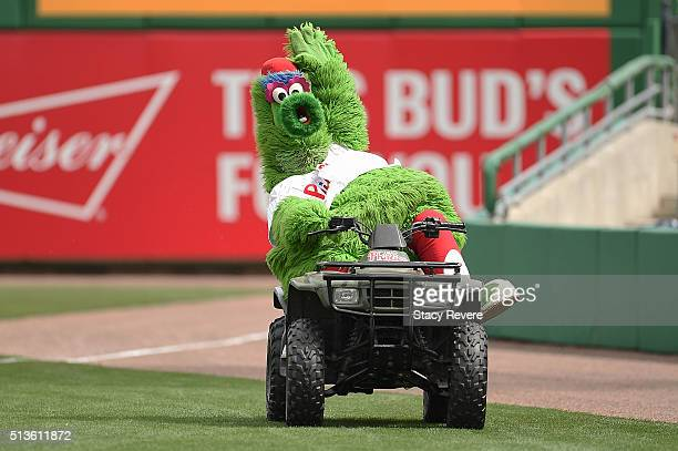The Philly Fanatic entertains the crowd prior to a spring training game between the Philadelphia Phillies and the Houston Astros at Bright House...