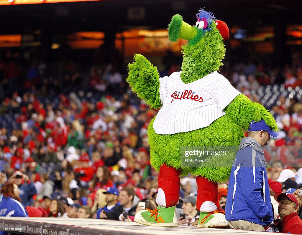 The Philly Phanatic entertains the fans during a game between the Philadelphia Phillies and St. Louis Cardinals on April 21, 2013 at Citizens Bank Park in Philadelphia, Pennsylvania.