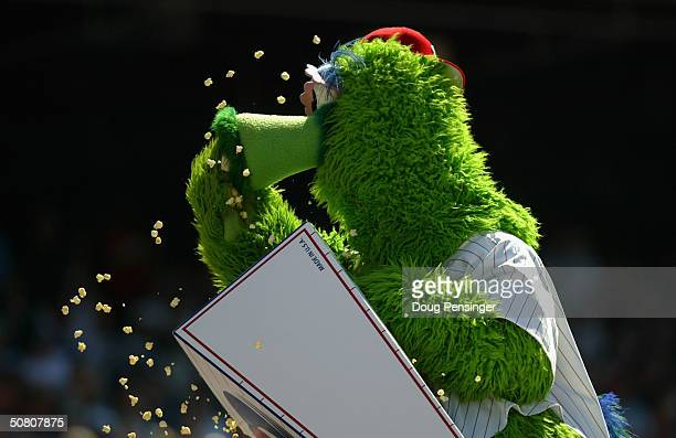 The Philly Phanatic muches on some popcorn as the St Louis Cardinals defeated the Philadelphia Phillies 74 during MLB action at the Citizens Bank...