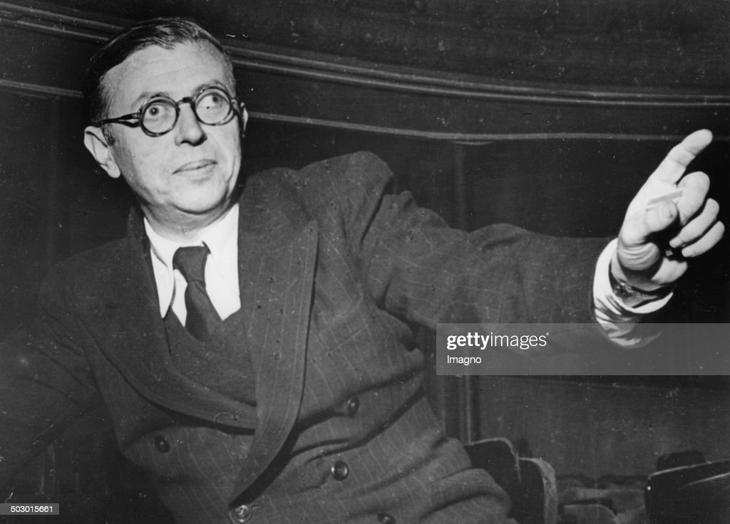 The philosopher <a gi-track='captionPersonalityLinkClicked' href=/galleries/search?phrase=Jean-Paul+Sartre&family=editorial&specificpeople=220329 ng-click='$event.stopPropagation()'>Jean-Paul Sartre</a>. France. About 1946. Photograph.