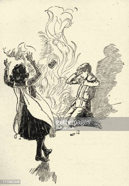 The Phoenix and the Carpet by Edith Nesbit 'A hot flash of flame leapt up' Illustration by Harold Robert Millar 1903 EN English author and poet 15...