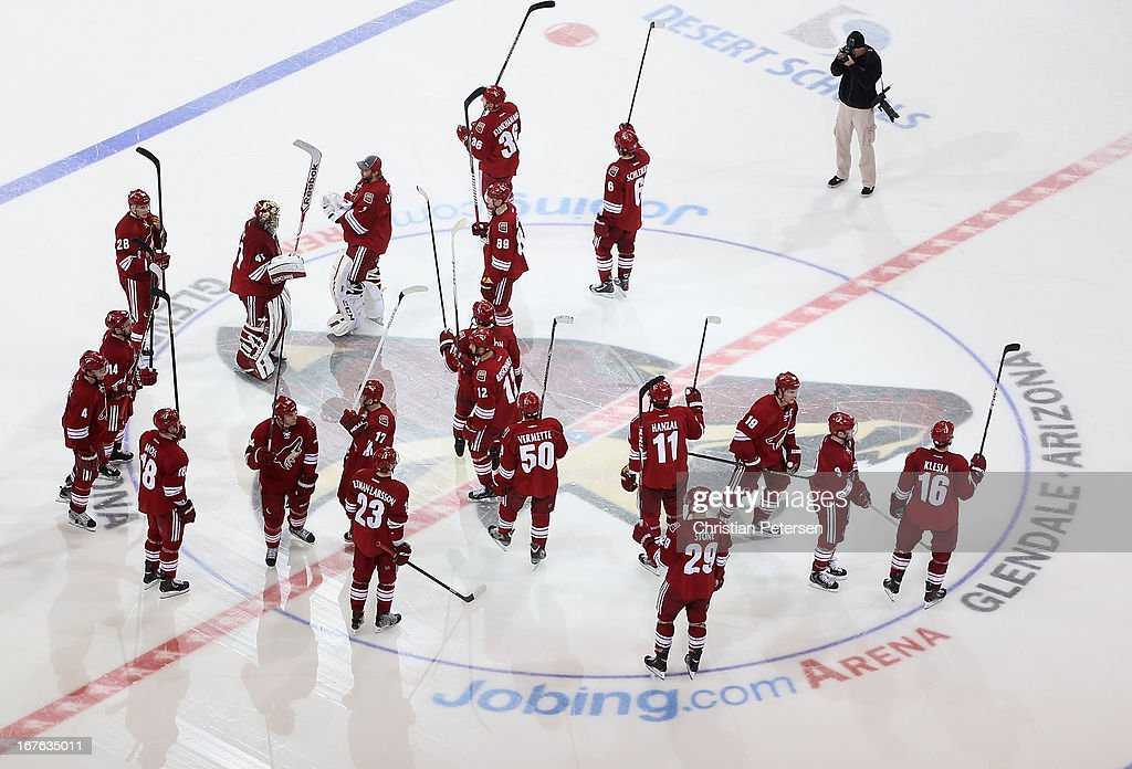 The Phoenix Coyotes salute their fans following the NHL game against the Colorado Avalanche at Jobing.com Arena on April 26, 2013 in Glendale, Arizona. The Avalanche defeated the Coyotes 5-4 in an overtime shoot-out.
